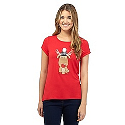 Red Herring - Red Christmas reindeer print t-shirt