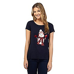 Red Herring - Navy Christmas snowman print t-shirt