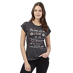 Red Herring - Grey sequin slogan print t-shirt
