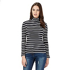 Red Herring - Navy striped roll neck top