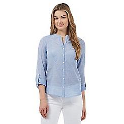 Red Herring - Blue textured stripe granddad shirt