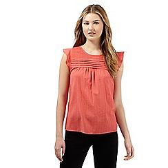 Red Herring - Peach ruffle top