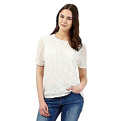 Red Herring - Ivory floral embroidered top