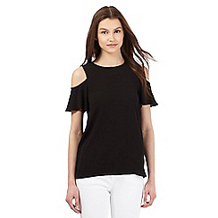 Red Herring - Black textured cold shoulder top