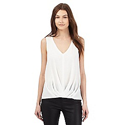 Red Herring - White sleeveless pleated tuck top