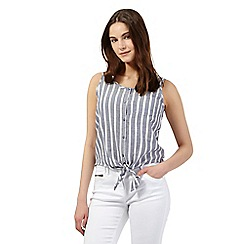 Red Herring - Navy striped tie front sleeveless top