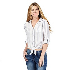 Red Herring - White striped embroidered tie front shirt