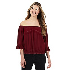 Red Herring - Dark red embroidered off the shoulder top