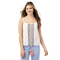 Red Herring - Ivory embroidered cami top