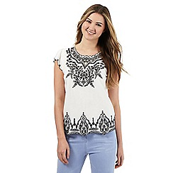 Red Herring - Ivory embroidered cut-out top