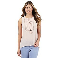 Red Herring - Light pink pleated front self tie neck top
