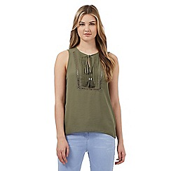 Red Herring - Khaki pleated front self tie neck top