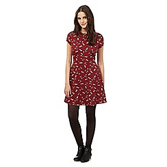 Red Herring - Red floral print skater dress