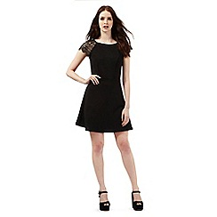 Red Herring - Black lace shoulder textured jersey dress