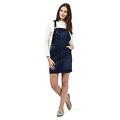 Red Herring - Dark blue mid wash denim dungaree dress