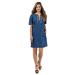Red Herring - Blue lace up denim tunic dress
