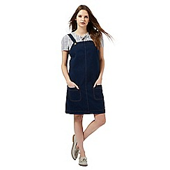 Red Herring - Dark blue denim pinafore dress