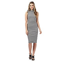 Red Herring - Black and white striped print turtle neck dress