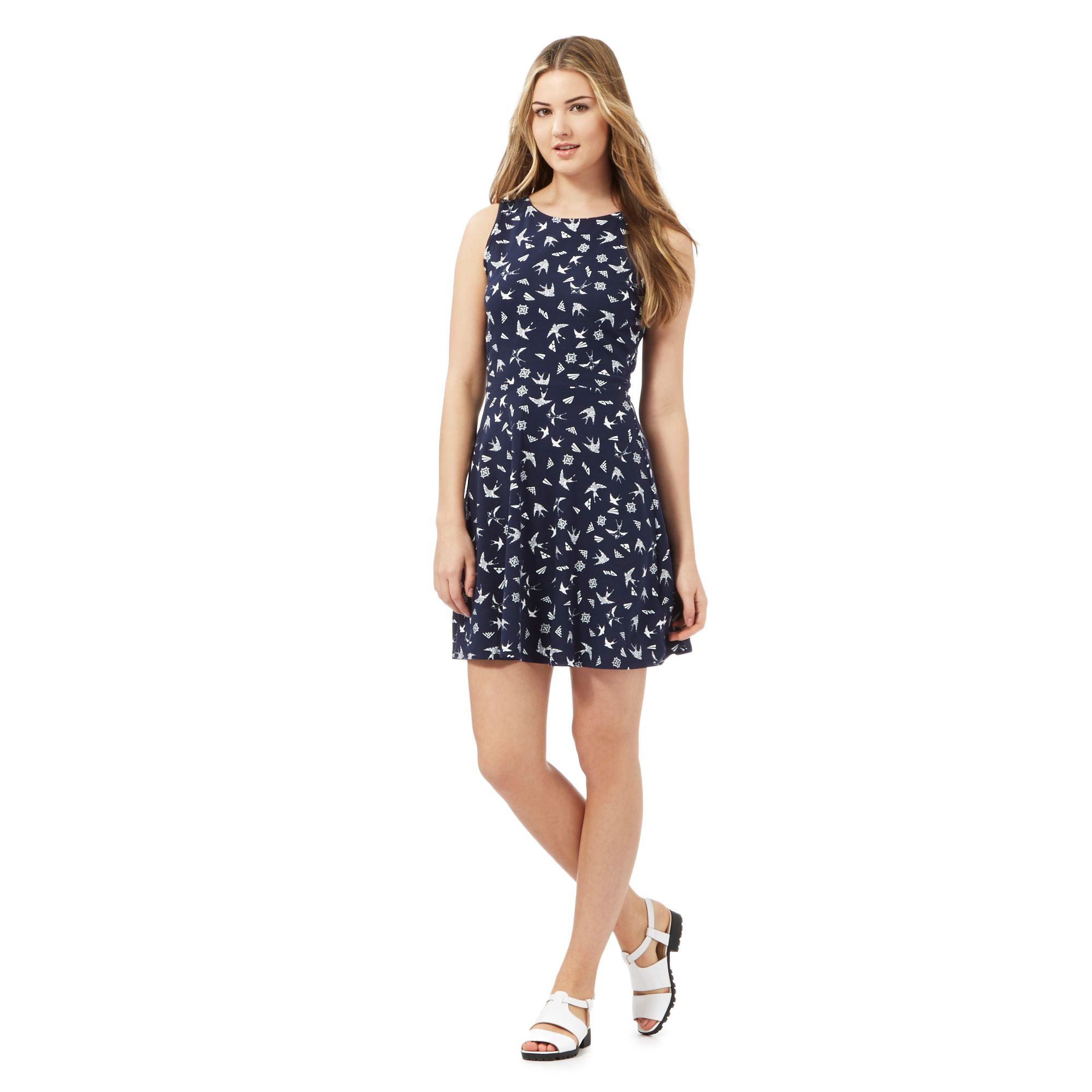 red herring womens navy bird print skater dress from debenhams