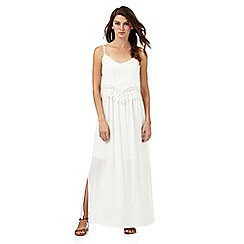 Red Herring - Ivory lace trim layered waist maxi dress