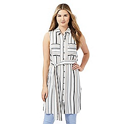 Red Herring - Ivory striped sleeveless shirt dress