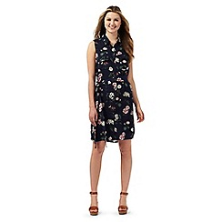 Red Herring - Navy floral print shirt dress