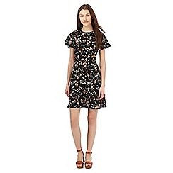 Red Herring - Black floral print fit and flare dress