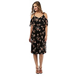 Red Herring - Black rose print cold shoulder midi dress