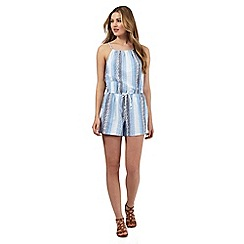 Red Herring - Pale blue striped print playsuit