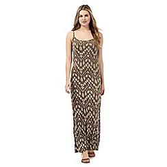 Red Herring - Khaki sunflower print maxi dress