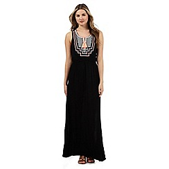 Red Herring - Black embroidered tassel maxi dress