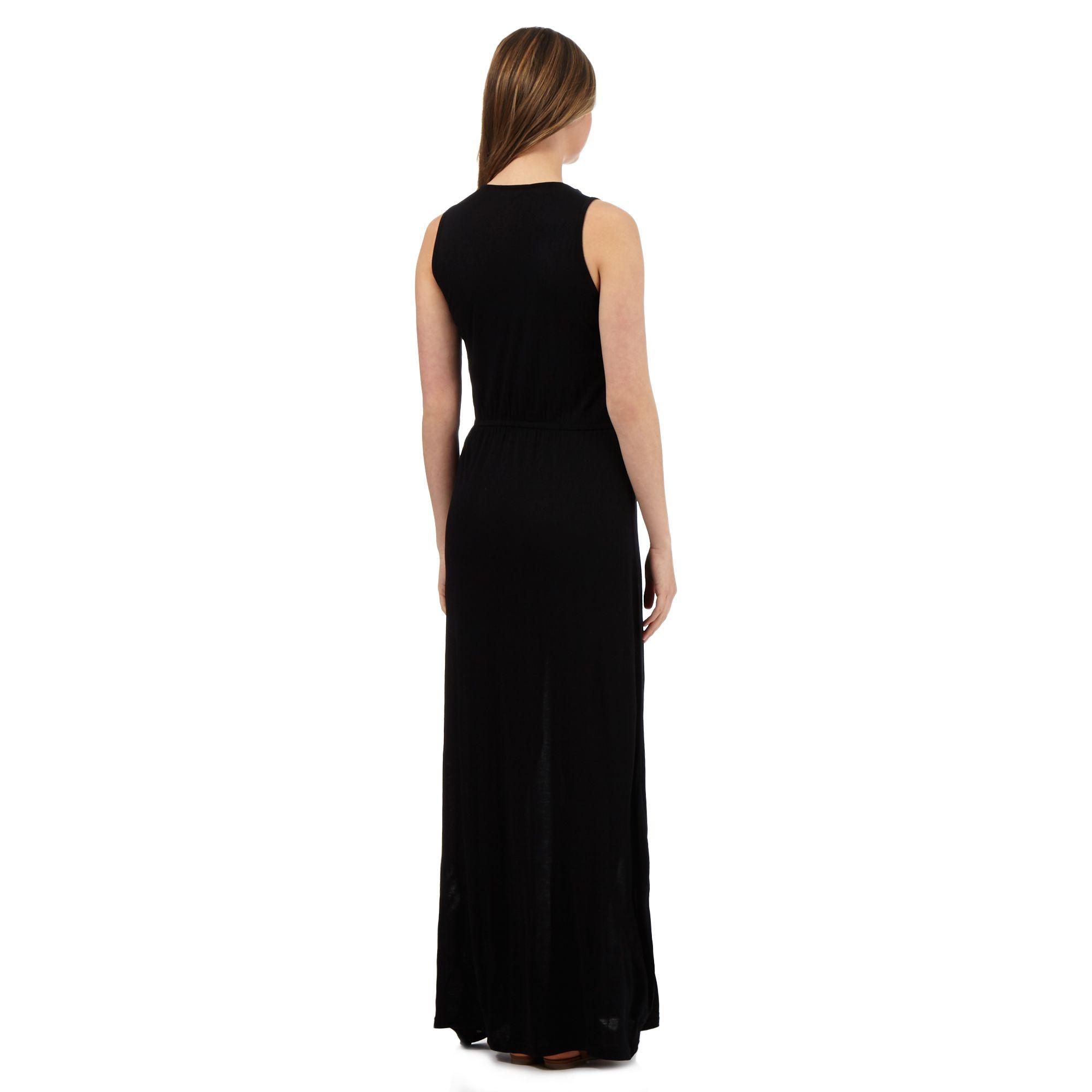Red herring womens black embroidered tassel maxi dress