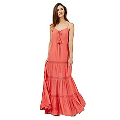 Red Herring - Pink lace tassel maxi dress