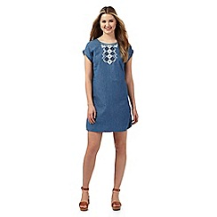 Red Herring - Pale blue embroidered denim dress