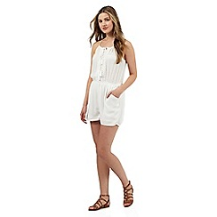 Red Herring - White crochet playsuit