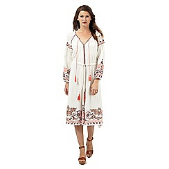 Red Herring - Ivory stitched hem gypsy dress