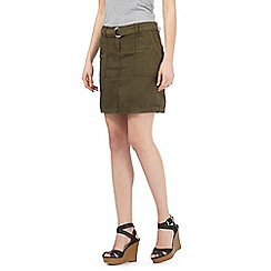 Red Herring - Khaki belted utility skirt