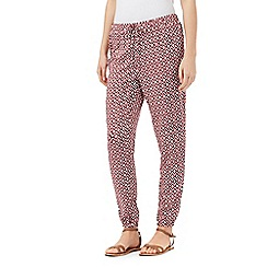 Red Herring - Dark red geometric print trousers
