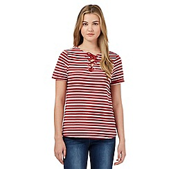 Red Herring - Red textured stripe lace up neck t-shirt