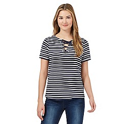 Red Herring - Navy textured stripe lace up neck t-shirt