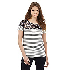Red Herring - Navy striped lace top