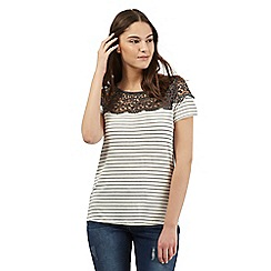 Red Herring - Dark grey striped lace top