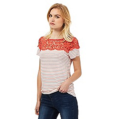 Red Herring - Coral striped lace top