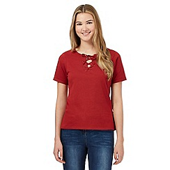 Red Herring - Dark red lace up neck t-shirt