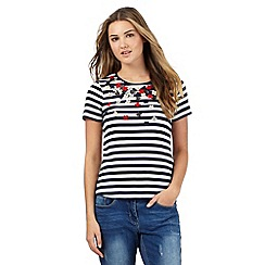 Red Herring - Navy applique flower striped top