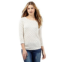 Red Herring - Ivory cut and sew spotted lace top