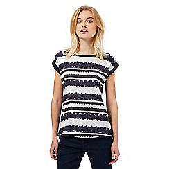 Red Herring - Navy striped daisy print top