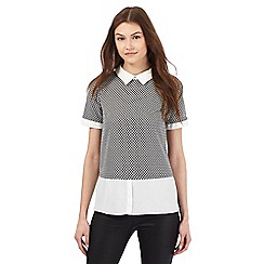Red Herring - Black and white jacquard 2-in-1 blouse