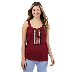 Red Herring - Dark red stitched front panel vest top