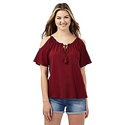 Red Herring - Dark red cold shoulder frill top